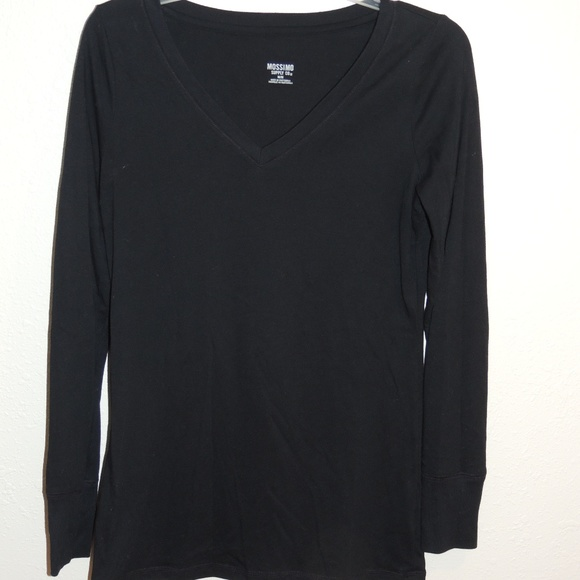 c26f4dce Mossimo Supply Co. Tops | Mossimo Plain Black Long Sleeve Vneck ...